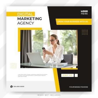 Modelo de mídia social e instagram de agência de marketing digital