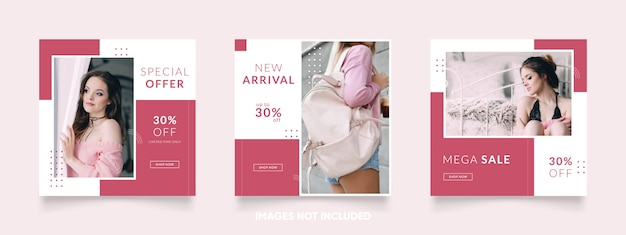 Modelo de mídia social e instagram de cor rosa