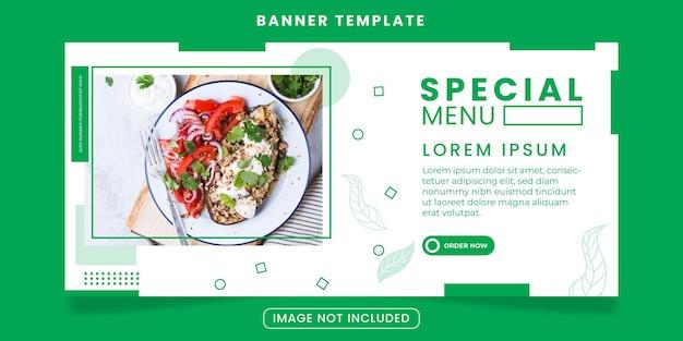 Modelo de mídia social minimalista verde para negócios de alimentos