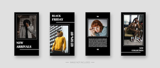 Modelo de mídia social. modelo de histórias de mídia social editável na moda.