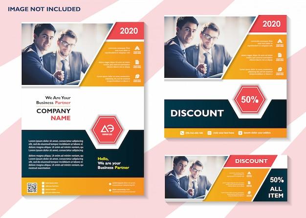 Modelo de mídia social modelo de panfleto de negócios