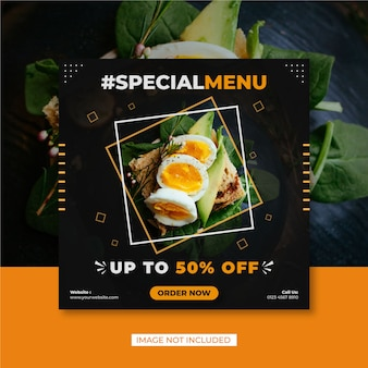 Modelo de mídia social para venda de banner gastronômico