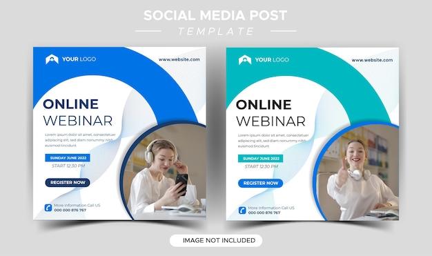 Modelo de mídia social para webinar ao vivo de marketing digital