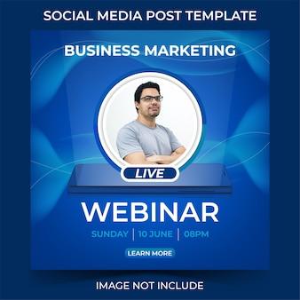 Modelo de mídia social para webinar ao vivo de marketing empresarial