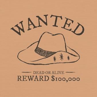 Modelo de mídia social vintage com tema de cowboy com texto editável, procurado