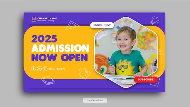 Modelo de miniatura do youtube para admissão à educação escolar