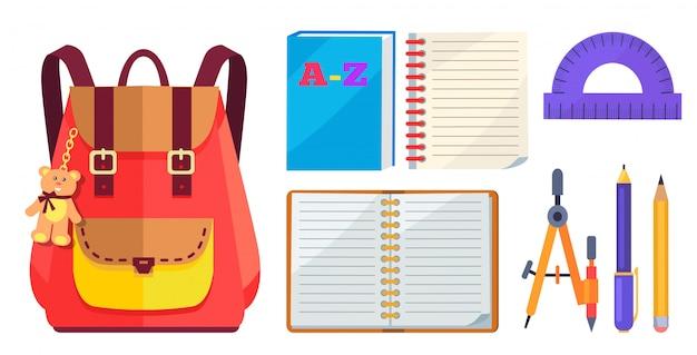 Modelo de mochila e acessório escolar