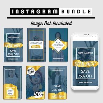 Modelo de moda de história de instagram ouro