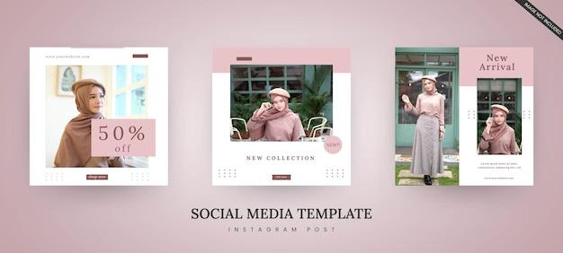 Modelo de moda de pós-banner de mídia social minimalista em rosa e branco