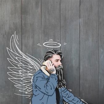 Modelo de moda hipster com fones de ouvido