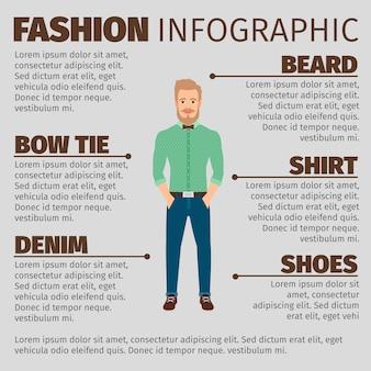 Modelo de moda infográfico com o homem jovem hippie