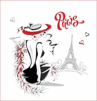 Modelo de moda. paris. lettering