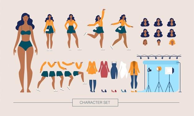 Modelo de moda personagem construtor vector plana