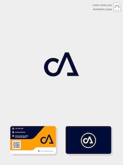Modelo de modelo e cartão de visita inicial do logotipo da ca ou ca