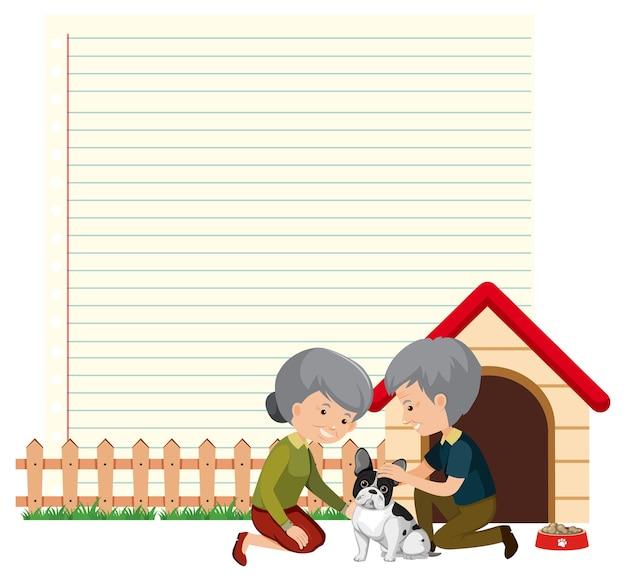 Modelo de moldura de borda com um casal de idosos e seu cachorro
