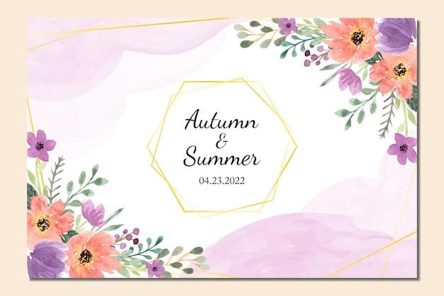 Modelo de moldura de convite de casamento com aquarela floral