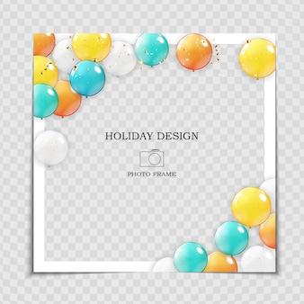Modelo de moldura de foto de férias de festa com balões para postar na rede social.