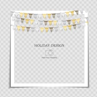 Modelo de moldura de foto de férias de festa com bandeiras para publicação na rede social.