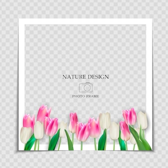 Modelo de moldura de foto de fundo natural com flores de tulipas da primavera para postar na rede social.