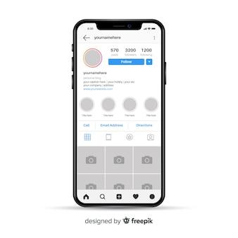 Modelo de moldura de foto instagram no smartphone