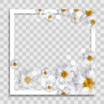 Modelo de moldura de foto vazio com flores da primavera para postagem na mídia na rede social