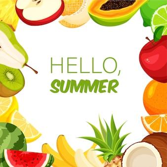 Modelo de moldura de frutas para o verão