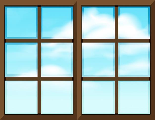 Modelo de moldura de janela com vista externa