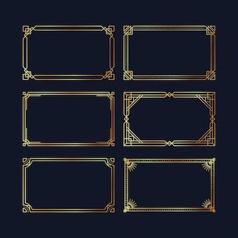 Modelo de moldura de luxo dourado gradiente