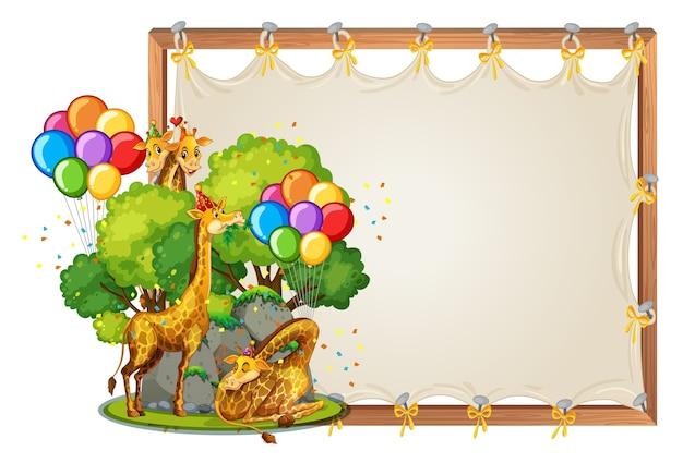 Modelo de moldura de madeira em tela com girafas em um tema de festa isolado