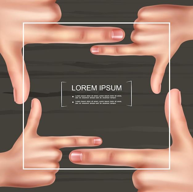 Modelo de moldura de mão de fotógrafo realista com mãos femininas fazendo gesto de visor em fundo de madeira