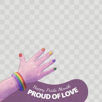 Modelo de moldura de mídia social para dia do orgulho pintada à mão