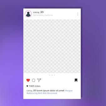 Modelo de moldura de post do instagram