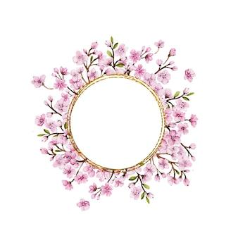 Modelo de moldura dourada redonda com flores rosa sakura