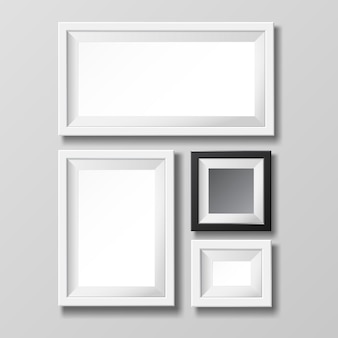 Modelo de moldura em branco cinza e preto para imagem ou texto.