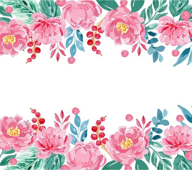 Modelo de moldura floral de peônia rosa aquarela