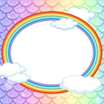 Modelo de moldura oval em fundo de escamas de peixes arco-íris