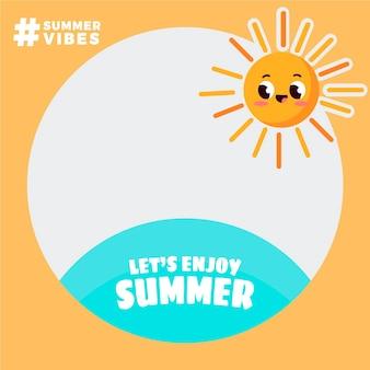 Modelo de moldura plana de verão para facebook