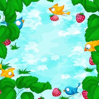 Modelo de moldura quadrada para texto ou foto com frutos maduros e pássaros.