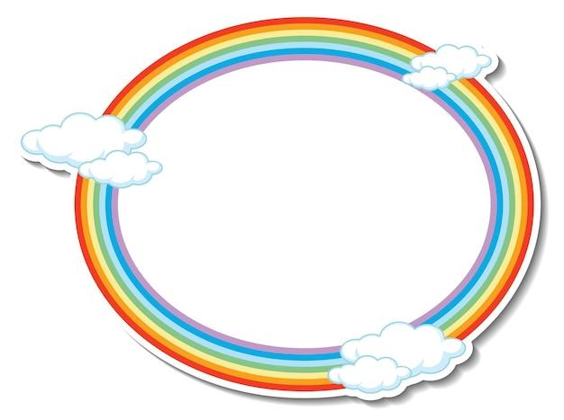 Modelo de moldura redonda de arco-íris com muitas nuvens