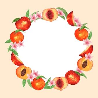 Modelo de moldura redonda de fruta pêssego aquarela