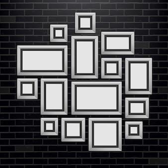 Modelo de molduras de parede, foto em branco.