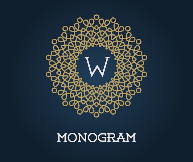 Modelo de monograma com ilustração de letras ouro elegante de qualidade superior em azul marinho