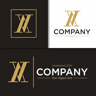 Modelo de monograma de logotipo av e x