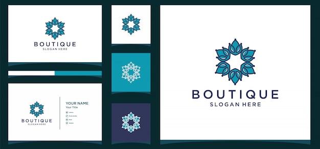Modelo de monograma floral simples e elegante, design de logotipo de arte de linha elegante,