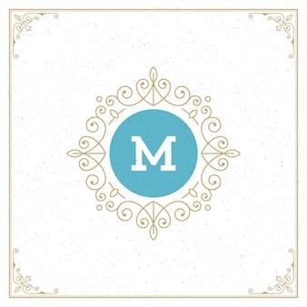 Modelo de monograma logotipo vintage, dourado elegante floresce ornamentos com borda de quadro ornamentado
