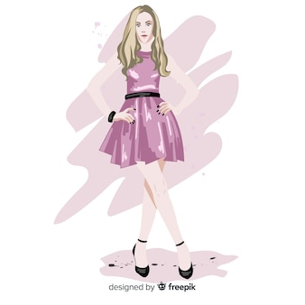 Modelo de mulher loira moda com vestido rosa, ilustração de personagem
