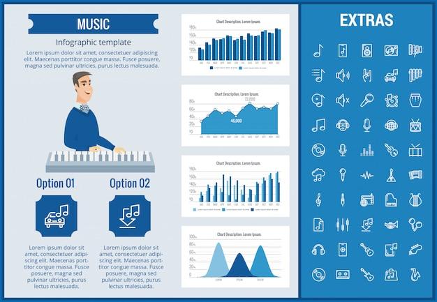 Modelo de música infográfico, elementos e ícones