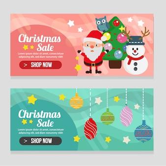 Modelo de natal de dois banners com decoração de luz de bola
