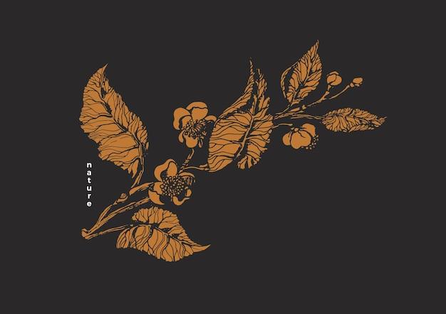 Modelo de natureza vetorial ramo de chá botânico flor de folhas vintage realista