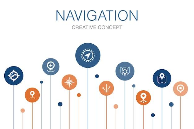 Modelo de navegação infográfico 10 etapas. ícones simples de localização, mapa, gps, direção